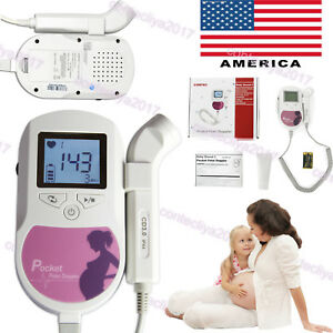Usa Fetal Doppler Baby Heart Rate Fhr Monitor 3mhz Probe Lcd Pocket Prenatal gel