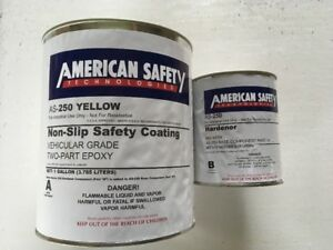 As 250 American Safety Anti slip Yellow Epoxy Paint 2 Part System 1 Gallon Kit