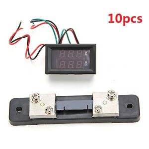 10pcs Mini Digital Blue Red Led Dc Current Meter Volt Meterr With Ampere Shunt