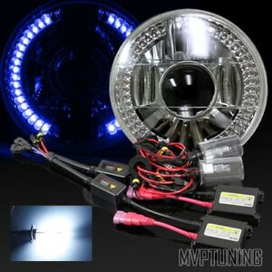 7 Round H6014 6024 Chrome Crystal Blue Led Ring Projector Headlights 8000k Hid