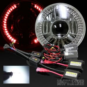 7 Round H6024 Chrome Crystal Red Led Ring Projector Headlights 6000k Hid Kit