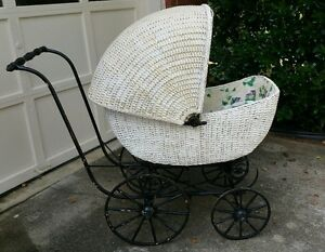 Vintage White Wicker Black Iron Baby Buggy Carriage Pram Old Great Condition
