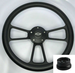 14 Black Billet Steering Wheel Black Wrap Chevy Horn Button Adapter A02