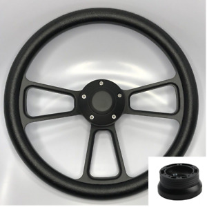 14 Black Billet Steering Wheel black Half Wrap Horn Button Hub Adapter A02
