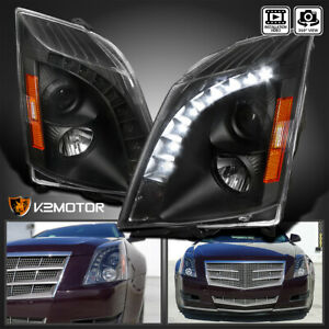 For 2008 2014 Cadillac Cts Black Led Strip Projector Headlights Lamps L R 08 14