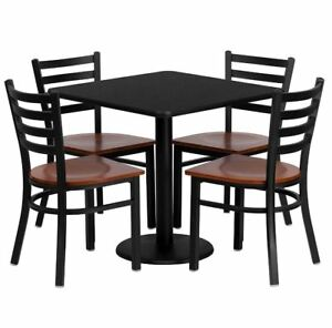 Restaurant Table And Chairs Set 30 Square Pedestal Table 4 Ladder Back Chairs