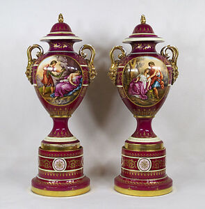 Antique Royal Vienna Pair Porcelain Lidded Urns Vase Hand Painted Portrait C1900