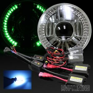 7 Round Chrome Crystal Green Led Ring Projector Headlight Conversion 10000k Hid