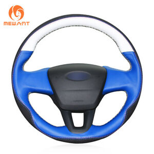 White Blue Leather Black Suede Steering Wheel Cover For Ford Focus 3 2015 2018