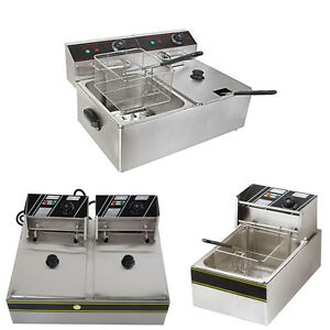 5000w 12l Electric Countertop Deep Fryer Dual Tank Commercial Restaurant Steel