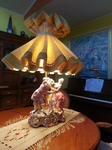37in Vintage Capodimonte Porcelain Lamp Musicians Multi Collored And Gold