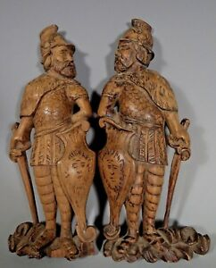 Fine Old Pair Of European Carved Wood Figures Of Soldiers Ca 20th Century