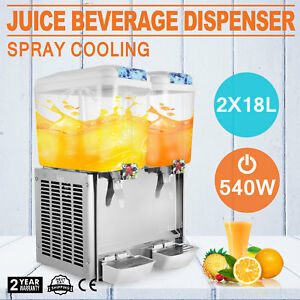 Commercial Juice Beverage Cold Refrigerated 2 Drink Dispenser Machine 540w