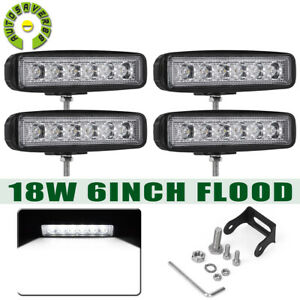 4pcs 72w 6 Flood Led Work Light Bar Driving Offroad Lamp 4wd Suv Truck Ute Atv