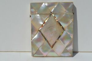 Gorgeous Victorian Era Antique Mother Of Pearl And Abalone Calling Card Case