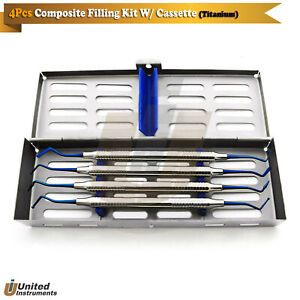 Dental Anterior Separating Composite Filling Instrument Titanium Blue Cassette
