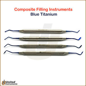 Dental Composite Contouring Filling Instrument Titanium Blue Restorative Spatula