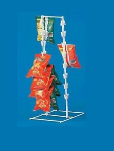 32 Spring Clip Double Sided Wire Countertop Snack Potato Chip Display Rack