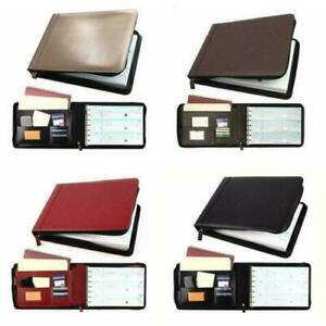 7 Ring Business Check Book Binder 3 on a page Zippered Leather Look 5 Colors New