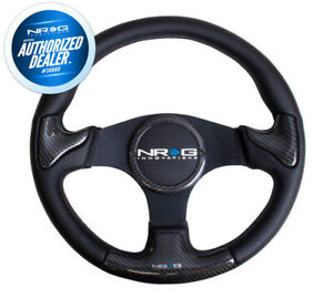 New Nrg Carbon Fiber Steering Wheel Black Leather Stitching 350mm St 014cfbk
