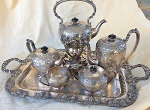 Vintage Barbour Tea Coffee Set Crescent Serving Tray Silverplate Engraved Fwb