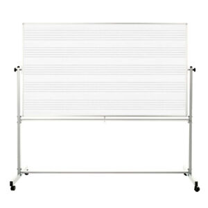 Offex Whiteboards 72 w X 48 h Double Sided Mobile Music Whiteboard