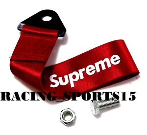 1x Red Jdm Supreme Racing Drift Rally Car Towing Strap Belt Hook Universal Fit