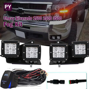 For Chevy Silverado 4x Led Pod Fog Light wiring Harness Kit hidden Mount Bracket