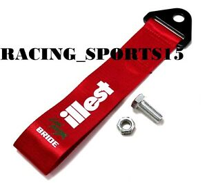 Jdm High Strength Red Illest Bride Racing Tow Strap For Front Bumper Towing