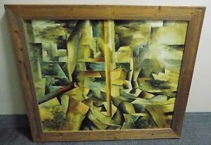 20th Century Chinese Asian Abstract Cubist Ceramic Plaque In Solid Wood Frame