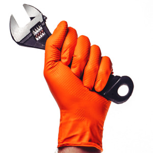 Aurelia Ignite Heavy duty Orange Nitrile Gloves Max Grip Size M 2xl 1000 case