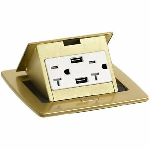 Lew Electric Pufp ct b 20a 2usb Kitchen Counter Pop Up 20a Usb Outlet Brass