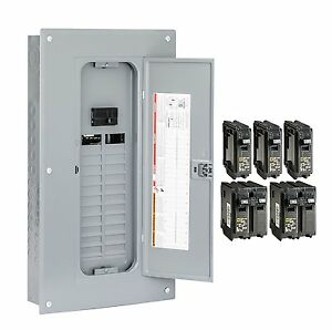 Main Breaker Box Electrical Homeline 100 Amp 24 Space Circuit Indoor Load Center