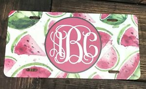 Monogram License Plate Watermelon Car Tag New Green White Pink Monogram Car Tag
