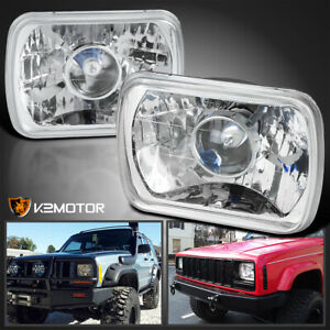 7x6 H4 Conversion Crystal Projector Headlights H6014 H6052 H6054 W H4 Bulbs