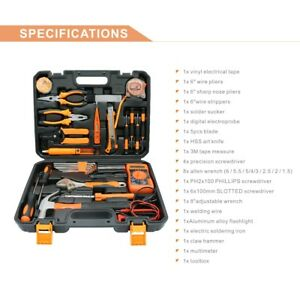 34pcs Multifunctional Tool Kit Home Commercial Electric Screwdriver Wrench Box