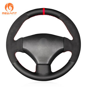 Diy Black Leather Suede Steering Wheel Cover For Peugeot 206 2003 206 Cc 2005