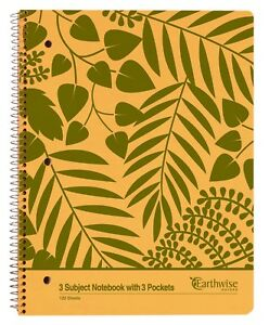 Earthwise Oxford 3 Subject Notebook 11 X 8 7 8 College Rule Kraft 24 ct
