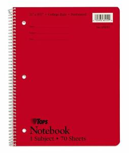 Tops Notebook 1 Subject 11 X 8 1 2 College Rule Red 70 Sh bk 24 Bk ct