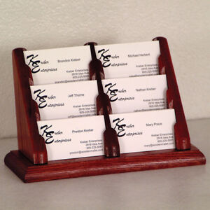 3 Tier 6 Pocket Wooden Tabletop Business Card Office Display Holders Mahogany