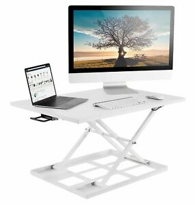 Mount it Sit Stand Desk Converter Ergonomic Height Adjustable Preassembled Wht