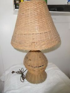 Antique Wicker Table Lamp Shade Arts Crafts Mission Original Works