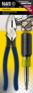Klein Tools Z00008 Excellent 2 Piece Electrician s Hand Tool Set Combination