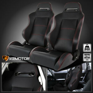 Reclinable Red Stitching Black Pvc Leather Sport Racing Seats W Silders Pair