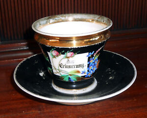 Antique Victorian 1880s German Hand Painted Gilded Porcelain Cup And Saucer
