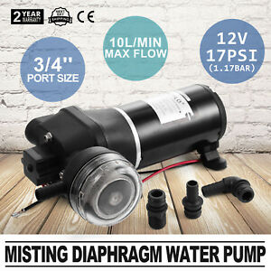 12v Misting Diaphragm Water Pump Portable Durable 3 4 port Size 17psi Booster