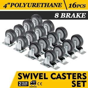 Set Of 16 Swivel Plate Casters With 4 Polyurethane Wheels 8 Side Brakes