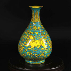 Chinese Antique Ming Green Green Yellow Lion Phoenix Pattern Gourd Vase Pot