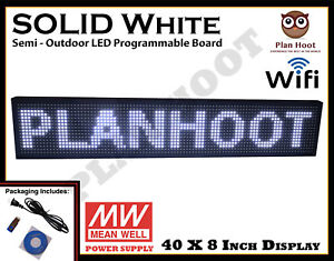 40 x8 Led P10 Pixels White Color Wifi Usb Indoor Semi outdoor Scrolling Sign