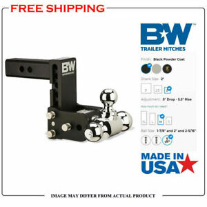 B w 5 Drop Tow Stow Adjustable Tri Ball Mount Fits 2 Receiver Hitch Ts10048b